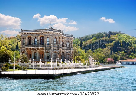 Kucuksu Pavilion built by Sultan Abdulmecit in Istanbul, 19th century. - stock photo