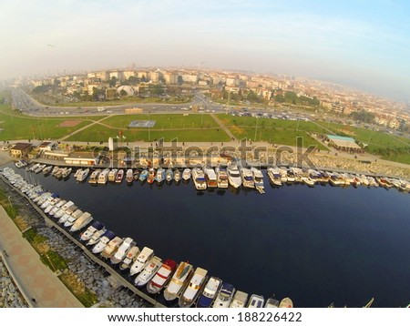 Kucukyali, Istanbul from above. Aerial view of yachts berthed in the marina. Sailing boards and luxury yachts berthed in line - stock photo