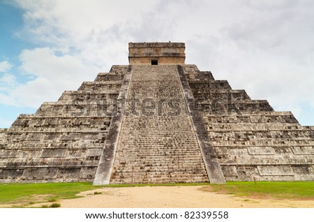 Kukulcan Pyramid in Chichen Itza, Mexico - stock photo