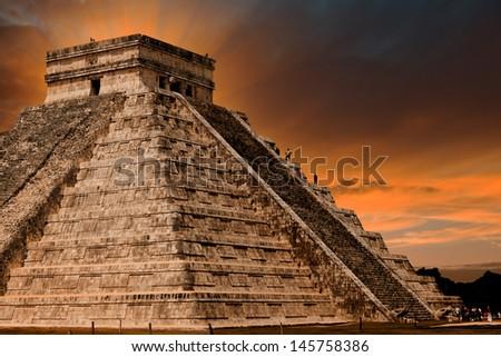 Kukulkan Pyramid in Chichen Itza Site, Yucatan, Mexico - stock photo