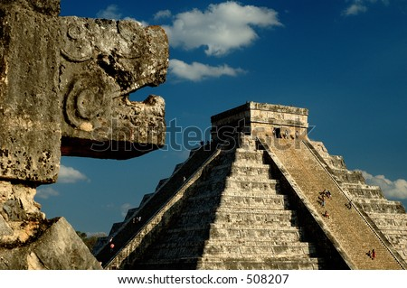 Kukulkan's shadow on the steps of the Pyramid during spring equinox,  Chichen Itza, Yucatan Mexico - stock photo