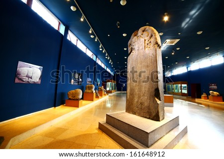 KULTEGIN'S MEMORIAL COMPLEX, MONGOLIA - JULY 2013: Orkhon inscriptions. The oldest form of a Turkic language to be preserved. It is most important epigraph for Turkish history and modern Turkey.  - stock photo