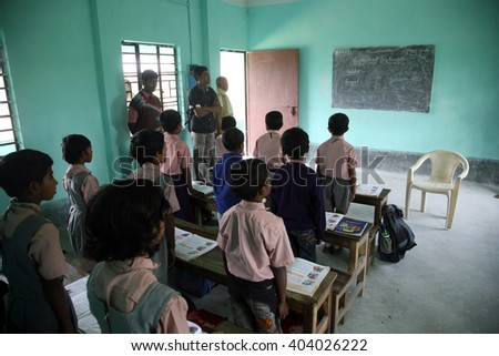 KUMROKHALI, INDIA - JAN 16: Father Ante Gabric Memorial School. The school is named after a famous Croatian Jesuit missionary Ante Gabric. in Kumrokhali, West Bengal, India Jan 16, 2009. - stock photo