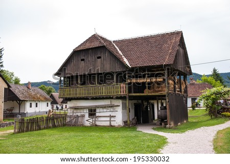 KUMROVEC, CROATIA - June 25, 2013: View of Kumrovec historical village, Zagorje area of Croatia. Motherland of Josip Broz Tito, 1st President of Yugoslavia.
