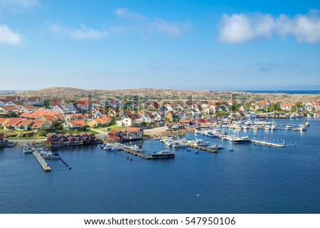 KUNGSHAMN, SWEDEN - SEPTEMBER 3: The Swedish west coast off-season on September 3, 2014 in Kungshamn. Kungshamn is a popular summer time tourist destination on the Swedish west coast.