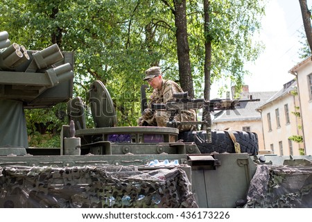 Kupiskis, Lithuania - June 12, 2016: Military equipment and soldiers in Dragoon Ride II - stock photo