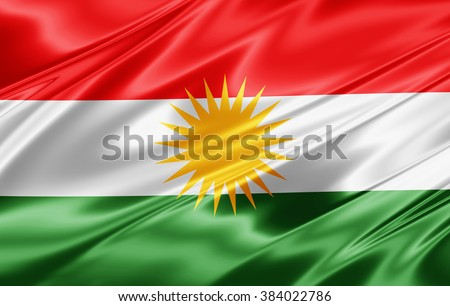 Kurdistan flag of silk