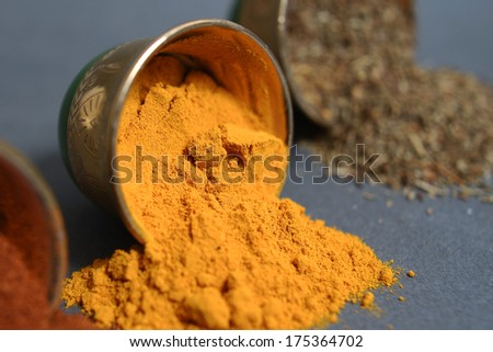 Kurkuma spices in the nice metal cup - stock photo