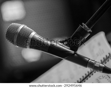 KURSK, RUSSIA - June 21, 2015:  The magic of jazz -- Jazz composer Igor Besschastny group rehearses before the opening of the new jazz club. - stock photo