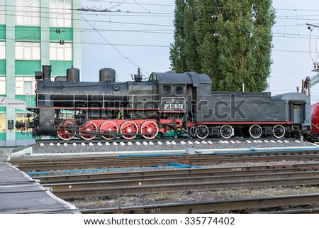 Kursk, Russia - October 1, 2015: Steam locomotive EM 728-73. Freight locomotive series of M. Built in 1933