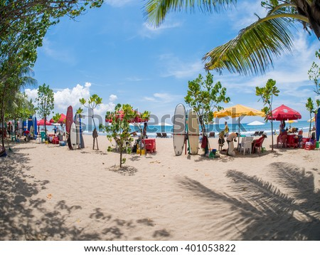 KUTA BALI - INDONESIA, JULY 20 : Surfboards on the famous beach on Kuta in Bali Indonesia July 20th, 2015 - stock photo