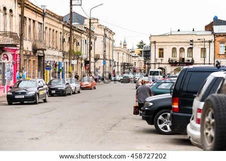 KUTAISI, GEORGIA - MAY 27: Cars parked on a street in Kutaisi city center on May 27, 2016 in Kutaisi, Georgia