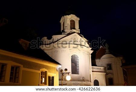 KUTNA HORA, CZECH REPUBLIC - NOVEMBER 15, 2014:UNESCO City Kutna Hora at night, Czech Republic  - stock photo