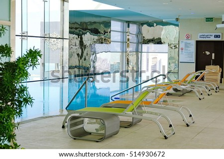 Kuwait City, Kuwait - November 2, 2016: Swimming pool on roof top with beautiful city view