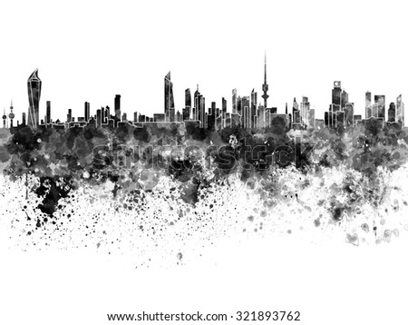 Kuwait City skyline in black watercolor - stock photo