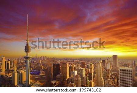Kuwait cityscape during the sunset - stock photo