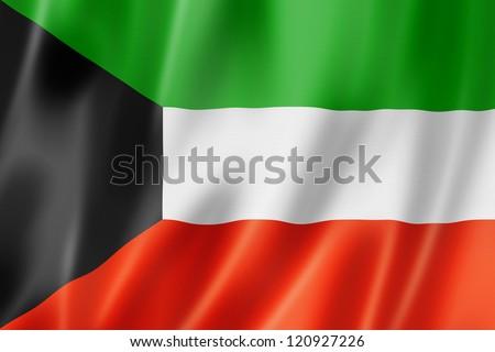 Kuwait flag, three dimensional render, satin texture - stock photo