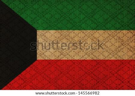 Kuwait grunge canvas flag - stock photo