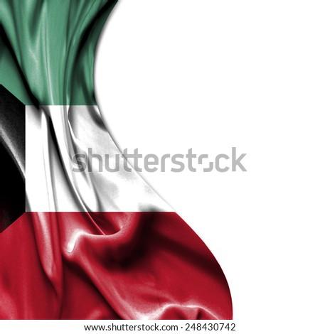 Kuwait waving silky flag isolated on white background - stock photo