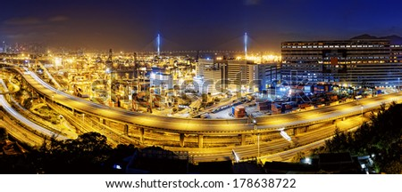 Kwai Tsing Container Terminals and highway in hong kong - stock photo