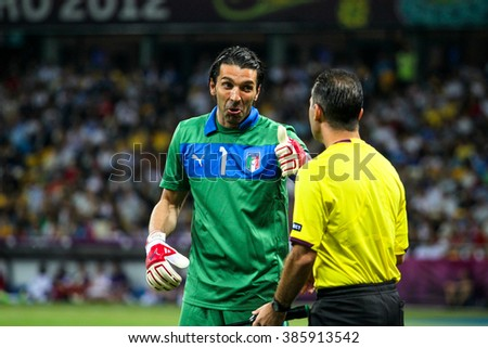 Kyiv, July 1, 2012 - Gianluigi Buffon (Italy) during the final match of UEFA EURO 2012 Spain - Italy in Kiev, Ukraine