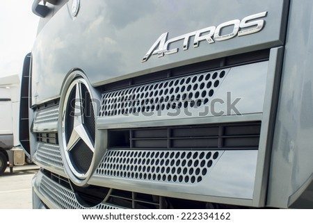 Kyiv - July 7. The new car Mercedes Actros truck to service Aylant in Kyiv Ukraine on July 7 2014 - stock photo