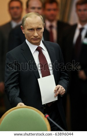 KYIV - OCT 27: Russian Prime Minister Vladimir Putin during a work visit, in the club Cabinet of Ministers, October 27, 2010 in Kyiv, Ukraine. - stock photo