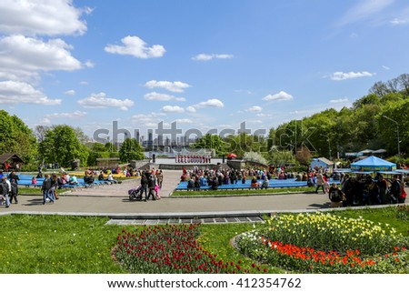 "KYIV, UKRAINE - APR 24: the 61th exhibition of flowers is taking place  from April 20 to May 29, 2016 on ""Spivoche pole"" in Kyiv. The tulip festival ""Flower of the river"" includes 250 thousand tulips"