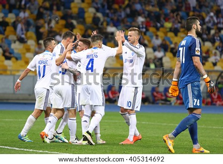 KYIV, UKRAINE - APRIL 10, 2016: FC Dynamo Kyiv players react after scored a goal during Ukrainian Premier League game against Volyn Lutsk at NSC Olympic stadium in Kyiv - stock photo