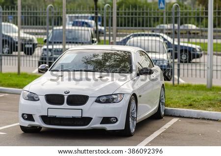 Kyiv, Ukraine - April 15th, 2013: White motor car BMW E92 M3 cabrio on sale. - stock photo