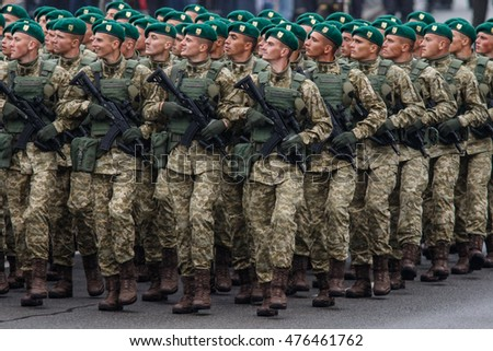 KYIV, UKRAINE - AUG 24, 2016: Soldiers during military parade, dedicated to Independence Day of Ukraine on Maidan Nezalezhnosty