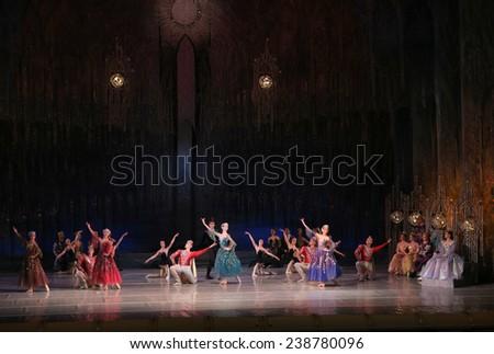 "KYIV, UKRAINE - DEC 03: ballet ""Swan Lake"" staged by the National Academic Opera and Ballet Theatre of Ukraine Taras Shevchenko performed by Elena Filip'yeva on December 03, 2013 in Kyiv, Ukraine. - stock photo"