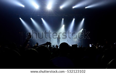 KYIV, UKRAINE - DECEMBER 2, 2016: Roman Bilyk, soloist of the russian rock band Zveri during a concert in Stereo Plaza