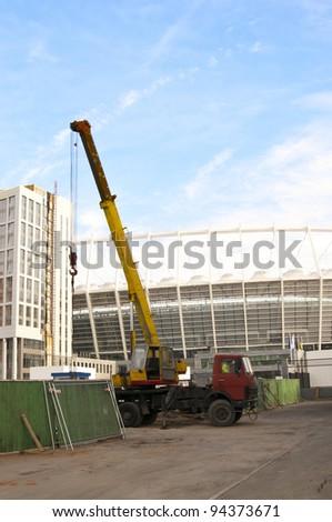 KYIV, UKRAINE - DECEMBER 25: The Olympic Stadium Under Construction For The UEFA EURO 2012 on December 25, 2011 in Kyiv, Ukraine - stock photo