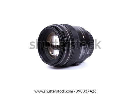 KYIV, UKRAINE - FEBRUARY 28, 2016: Canon 85mm f/1.8 EF USM Lens. Canon Inc. is a Japanese multinational corporation specialized in the manufacture of imaging and optical products.