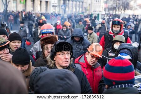 KYIV, UKRAINE - JAN 23: Yuriy Lutsenko on the occupying street on the demostration during anti-government protest Euromaidan on January 23, 2014, in center of Kiev, Ukraine - stock photo