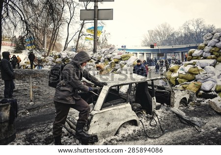 KYIV, UKRAINE - JANUARY 2014: Euromaidan. Revolution of Freedom.