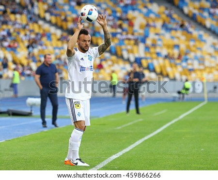 KYIV, UKRAINE - JULY 23, 2016: Mykola Moroziuk of Dynamo Kyiv throws in the ball during Ukrainian Premier League game against FC Oleksandria at NSC Olympic stadium in Kyiv