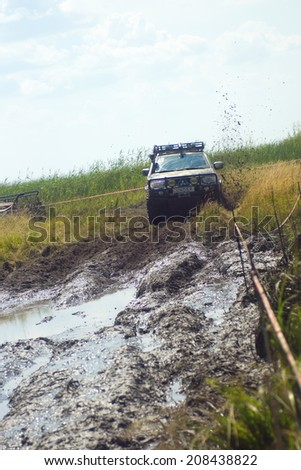 Kyiv Ukraine - July 26, 2014 - 9 OFF-ROAD-FREE-FEST 2014.Offroad Free Fest - bright, festival enthusiasts annually gathered thousands of motorists Ukraine.