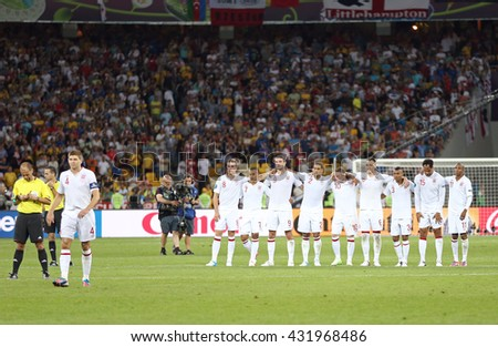 KYIV, UKRAINE - JUNE 24, 2012: English players during UEFA EURO 2012 Quarter-final game against Italy at Olympic stadium in Kyiv, Ukraine - stock photo