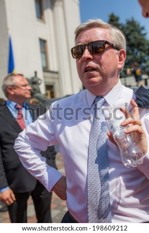 KYIV, UKRAINE - 08 JUNE 2014: Former European Parliament President Pat Cox after ceremony the inauguration of Ukrainian President Poroshenko June 08 2014 in Kyiv, Ukraine - stock photo