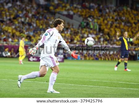 KYIV, UKRAINE - JUNE 11, 2012: Goalkeeper Andriy Pyatov of Ukraine in action during UEFA EURO 2012 game against Sweden at Olympic stadium in Kyiv - stock photo