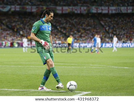 KYIV, UKRAINE - JUNE 24, 2012: Goalkeeper Gianluigi Buffon of Italy in action during UEFA EURO 2012 Quarter-final game against England at Olympic stadium in Kyiv, Ukraine - stock photo