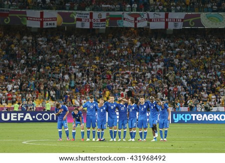KYIV, UKRAINE - JUNE 24, 2012: Italian players during UEFA EURO 2012 Quarter-final game against England at Olympic stadium in Kyiv, Ukraine - stock photo