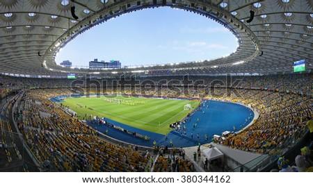 KYIV, UKRAINE - JUNE 11, 2012: Panoramic view of Olympic Stadium in Kyiv (NSC Olimpiyskyi) during UEFA EURO 2012 game Ukraine vs Sweden - stock photo