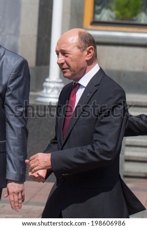 KYIV, UKRAINE - 08 JUNE 2014: President of Romania Traian Basescu is walking after ceremony the inauguration of Ukrainian President Poroshenko June 08 2014 in Kyiv, Ukraine
