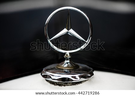 Kyiv, Ukraine - June 18th, 2016: Mercedes Benz Sign Close Up. Founded in 1926 is a German luxury automobile manufacturer, a multinational division of the German manufacturer Daimler AG.