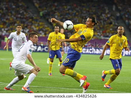 KYIV, UKRAINE - JUNE 19, 2012: Zlatan Ibrahimovic of Sweden (C) in action during UEFA EURO 2012 game against France at Olympic stadium in Kyiv, Ukraine - stock photo