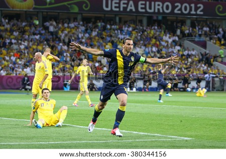 KYIV, UKRAINE - JUNE 11, 2012: Zlatan Ibrahimovic of Sweden reacts after score against Ukraine during their UEFA EURO 2012 game at Olympic stadium in Kyiv - stock photo