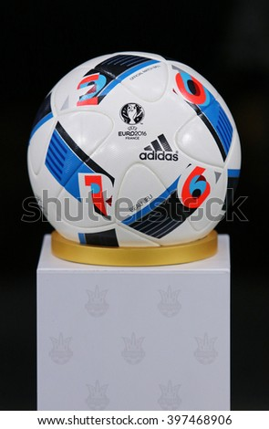 KYIV, UKRAINE - MARCH 28, 2016: Official match ball of the UEFA EURO 2016 Tournament (Adidas Beau Jeu) on pedestal before Friendly match between Ukraine and Wales at NSC Olympic stadium in Kyiv - stock photo